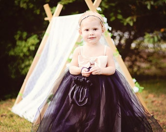 Girls Tutu Dress--Flower Girl Dress--Champagne Bow Bodice--Fully Lined--Weddings--Holiday Portraits--Church