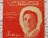 Vintage French 1940's Song / Sheet Music Merchant of Alcaraz (Le Marchand D'Alcarazas - Luis Mariano)