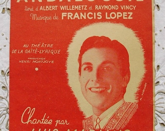 Vintage French 1940's Song / Sheet Music Merchant of Alcaraz (Le Marchand D'Alcarazas - Luis Mariano)