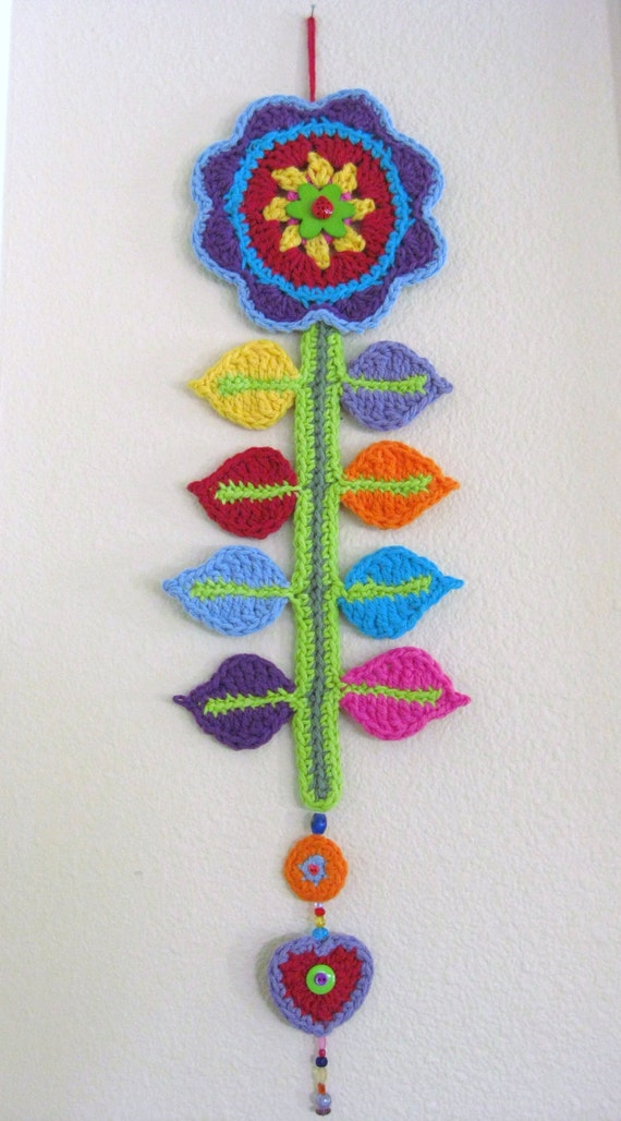 Crochet Wall Hanging : ... Crocheted Wall Hanging - Crocheted Wall Decor - Rainbow Flower Wall