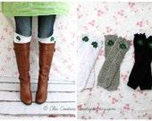 St. Patrick's Day, Spring Girl's & Women's Ruffle Leg Warmers w Green Felt Clover Shamrock.  Boot Socks Leggings Boot Cuffs. Mommy and Me