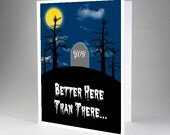 Funny Birthday Halloween Card, Graveyard, Adult