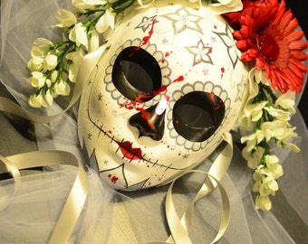 Blood Spatter Bride - Veil Bride Day of the Dead Mask - Spooky Bridal sugar Skull Flower Crown Dia De los Muertos Katrina Ready to ship