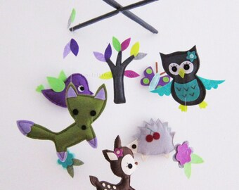 "Baby Mobile - Nursery Mobile - Baby Neutral crib Mobile - ""Dark Woodland Animals"" Mobile  (Custom Color Available)"