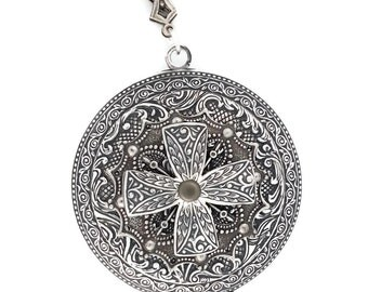 Sterling over Brass Victoria Cross Frozen Filigree Locket Necklace by Dr Brassy Steampunk