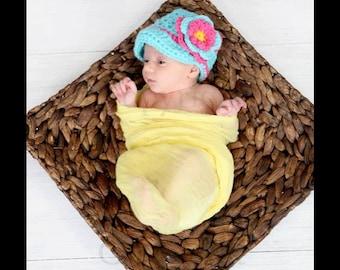 Girl Easter Hat, Newborn Girl Easter Hat, Girl Visor Hat, Visor Hat with Flower, Crochet Baby Girl Hat, Turquoise Hot Pink Hat, Photo Prop