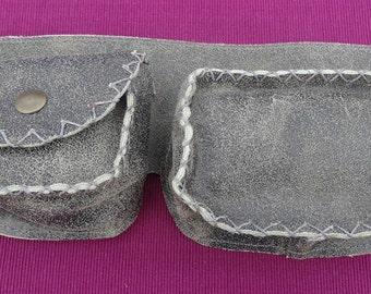 Triple Pouch Leather Utility Belt - festival belt - burning man belt -fanny pack