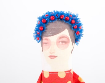 Ooak art Doll - Stylish blue Flowers Crown, Wearing  red dress with Yellow Polka Dots , Original gift for her - timohandmade eco fabric dol