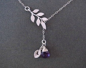 Birthstone Necklace, Leaf Necklace, Initial Necklace, Personalized Necklace, Mothers Necklace, Dainty Necklace, Delicate Necklace, Amethyst