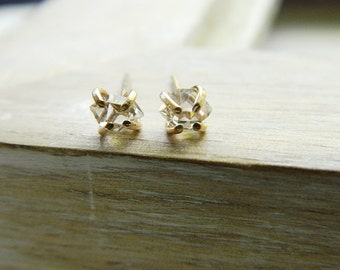 Gold filled herkimer diamond earrings - gold filled stud earrings - roughdiamond - gold filled post earrings