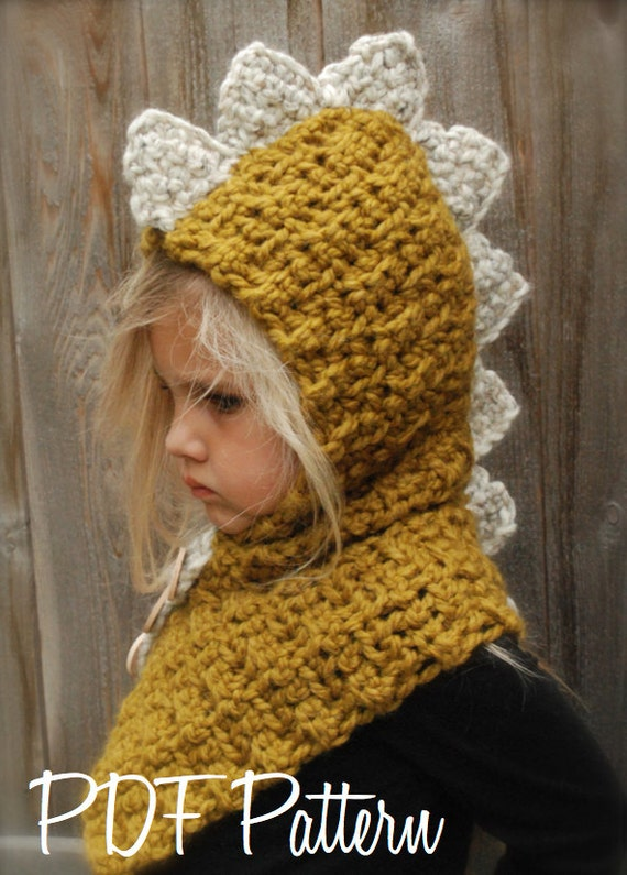 CROCHET PATTERN - Drako Dino Cowl (12/18 month,Toddler, Child, Adult sizes)