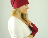 Slouchy Hat - Boho - Unisex Beanie - Marsala Red - Organic Clothing - Eco Friendly - Beanie