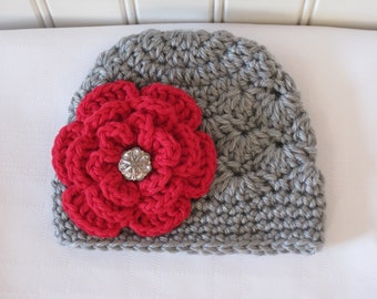 Crochet Girls Hat - Baby Hat - Winter Hat - Newborn Hat - Christmas Hat - Light Gray (Grey) with Red Flower - in sizes Newborn to 3 Years