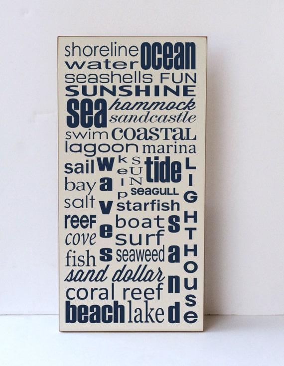 Beach Subway, Wood Art Sign, Nautical Decor, Home Decor, Beach Decor, Wooden Sign, Nautical Wood Sign Beach Decor,  You Pick Colors
