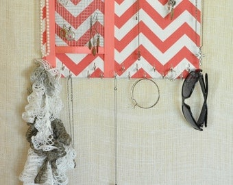 Jewel Board JEWELRY ORGANIZER Standard Coral and White Chevron by One BLESSED mommie