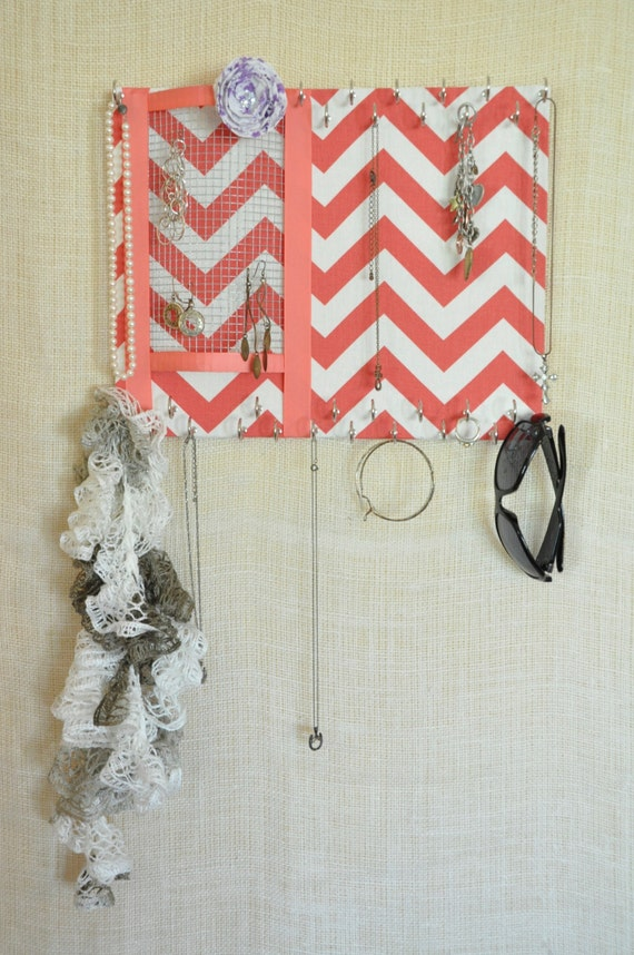 ULTIMATE JEWELRY ORGANIZER-Medium- Coral and White Chevron,11x14 inches, 30 Large Hooks