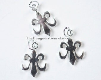 One Sterling Silver Fleur De Lis Charm with Closed Jump Ring 18 x 10mm