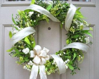 Wedding Wreath - Wedding Decor - White Wreath - Boxwood Wreath - Wedding Decoration - Etsy Wreaths - Bridal Shower Decor - Wreath Pair