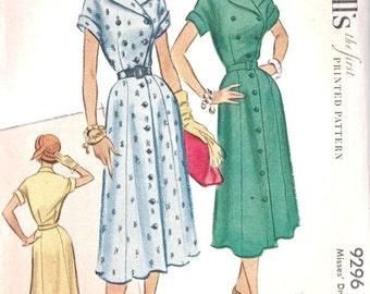 9296 UNCUT 1950's Women's Double Breasted Dress McCall's 9296 Bust 32