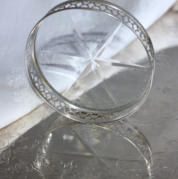 Vintage Sterling Silver and Cut Crystal Coasters (Frank M Whiting)