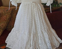 White Christening/Blessing Gown with White Cotton Slip - 6 - 9 Months - READY TO SHIP
