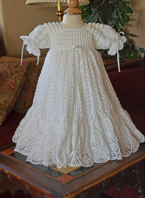 White Christening/Blessing Gown with White Cotton Slip - 6 - 9 Months - G-13133 - READY TO SHIP