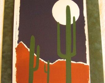 Moon and Saguaros