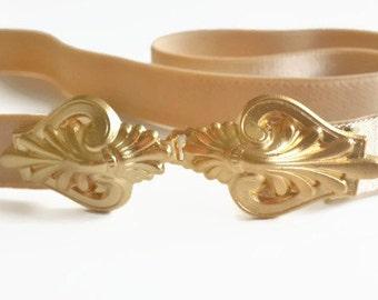 Wedding belt, Dress belt, Waist Belt, Gold belt, Bridal Belt, Wedding sash, Wedding Accessories, Nude Belt, Skinny Belt,  bridesmaid belt