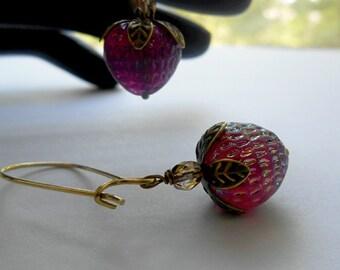 Strawberry Earrings West Germany Vintage Glass