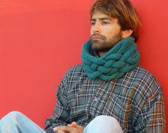 Man Cowl Knitting Pattern - Cowl Scarf Snood PDF- Instant Download