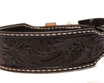Leather dog collar, Medium handmade collar, luxury leather collar , black leather collars , border collies
