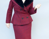 Vintage 1950's Skirt Suit - Mrs. Claus - Incredible Red and Black Plaid Wool Skirt and Jacket with Beaver Fur Trim