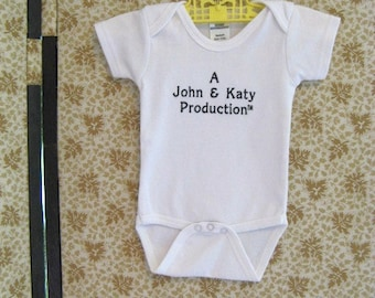 Personalized Unisex Baby One Piece Mom and Dad Production Bodysuit Unisex Baby Shower Gift