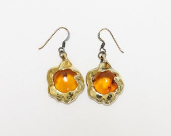 "Sterling Amber Earrings Gold Finish Very Clear Vibrant Orange Amber 1.7"" Long"