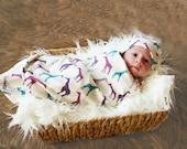 Organic Giraffe Baby Blanket for Baby Girl - In Purple, Magenta and Teal Organic Interlock - Swaddle Blanket
