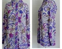Vintge EMILIO PUCCI BLOUSE| Emilio Pucci Blouse|1960s Vintage Emilio Pucci  Long Sleeve Blouse|Pucci Tunic Shirt|Geometric Pucci Blouse