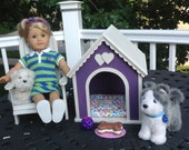Large Purple Dog house for 18 in American Girl doll pets