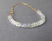 rainbow moonstone bracelet with gold satellite chain, AAA grade gemstone and metal, moonstone bracelet, gold bracelet