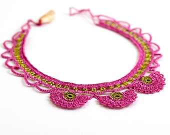 Necklace-Bohemian Crochet Statement Necklace,Beaded Jewelry,Pink Carnation Flowers,Ottoman Iznik Tile,Fiber Art,FREE SHIPPING