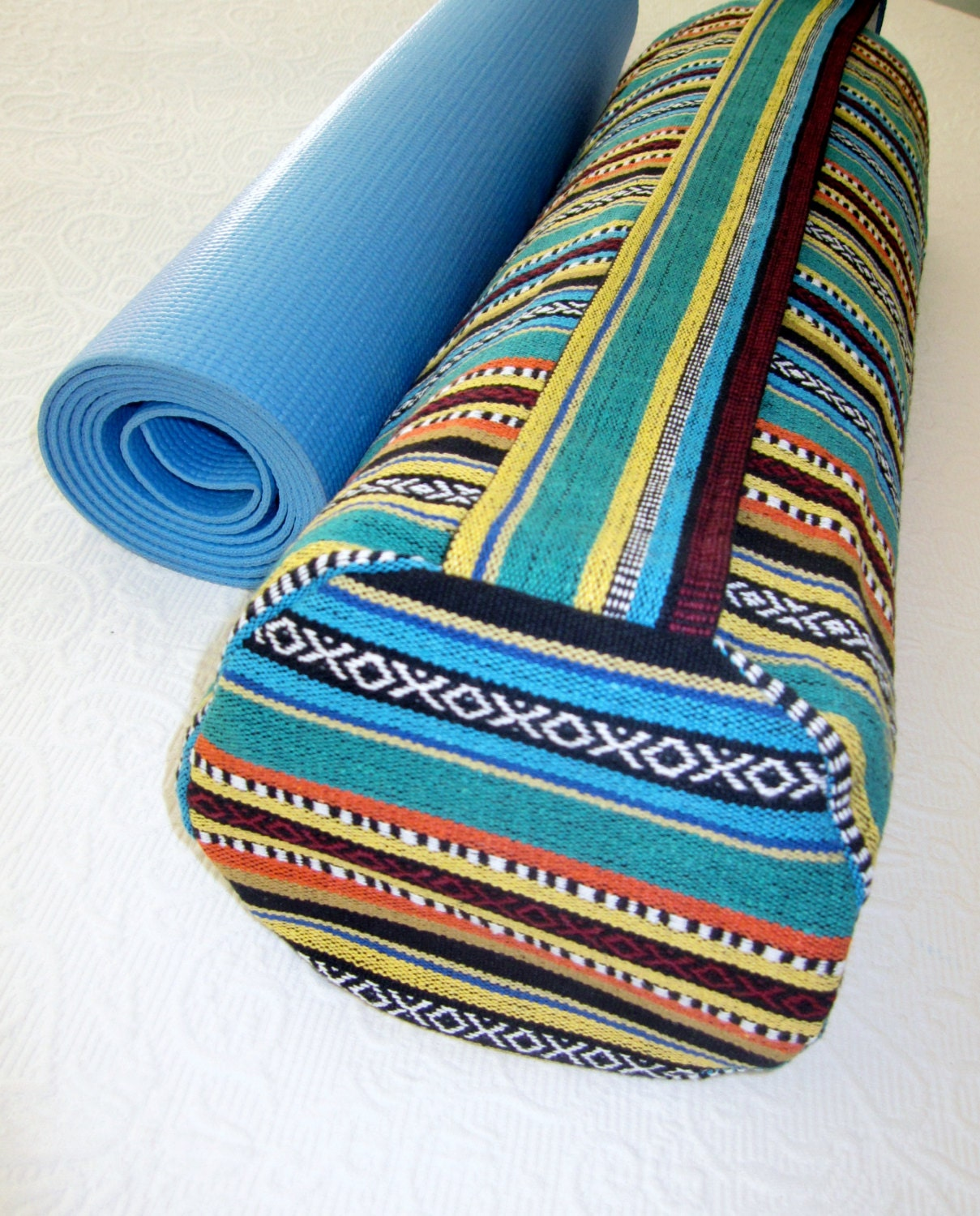 Yoga Mat Bag Easy To Use Mexican Woven Fabric By Nannabonkers