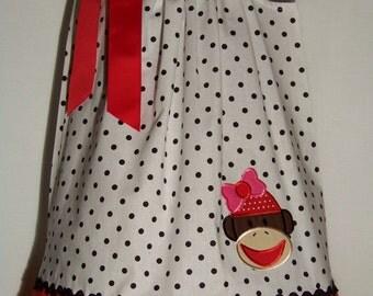 Sock Monkey Pillowcase Dress / Cute / Red / Pink / Birthday / Newborn / Infant / Girl / Baby / Toddler / Custom Boutique Clothing