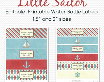 Water Bottle Labels, Nautical Baby Shower Decor, Sailboat First Birthday Decorations, Party Favor  -- Printable, Editable, Instant Download