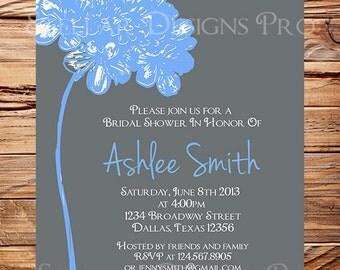Bridal Shower Invitation,Flower Bridal or Wedding shower Invitation,Wedding Shower, Gray, Pink, Yellow, Blue, Green digital, 5085