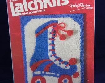 1980s Roller Skate 3D Latch Hook Kit 20 x 27 Inch Pillow Wall Hanging New Old Stock