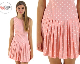 Peach Polka Dot Dress / Vintage 90s Dress / Drop Waist Dress . xs sm