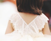 Flower Girl Tutu Dress, lace back flower girl dress, couture flower girl dress