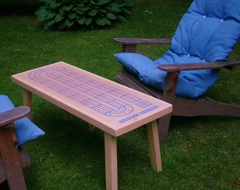 CRIBBAGE TABLE,  Handcrafted, Cribbage Board, Game Room Furniture, Cribbage, Home Decor, Unique Coffee Table, Game Table