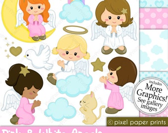 Angel clipart - Pink and White Angels - Digital paper and clip art set