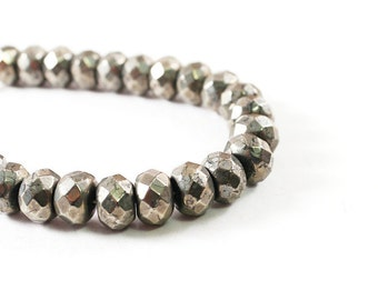 Natural stone mens bracelet, pyrite jewelry, gemstone bracelet for men, gray metallic bracelet for man