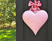 Pink Valentine Wreath - Valentine Gift -  Heart Wreath - Door Wreath